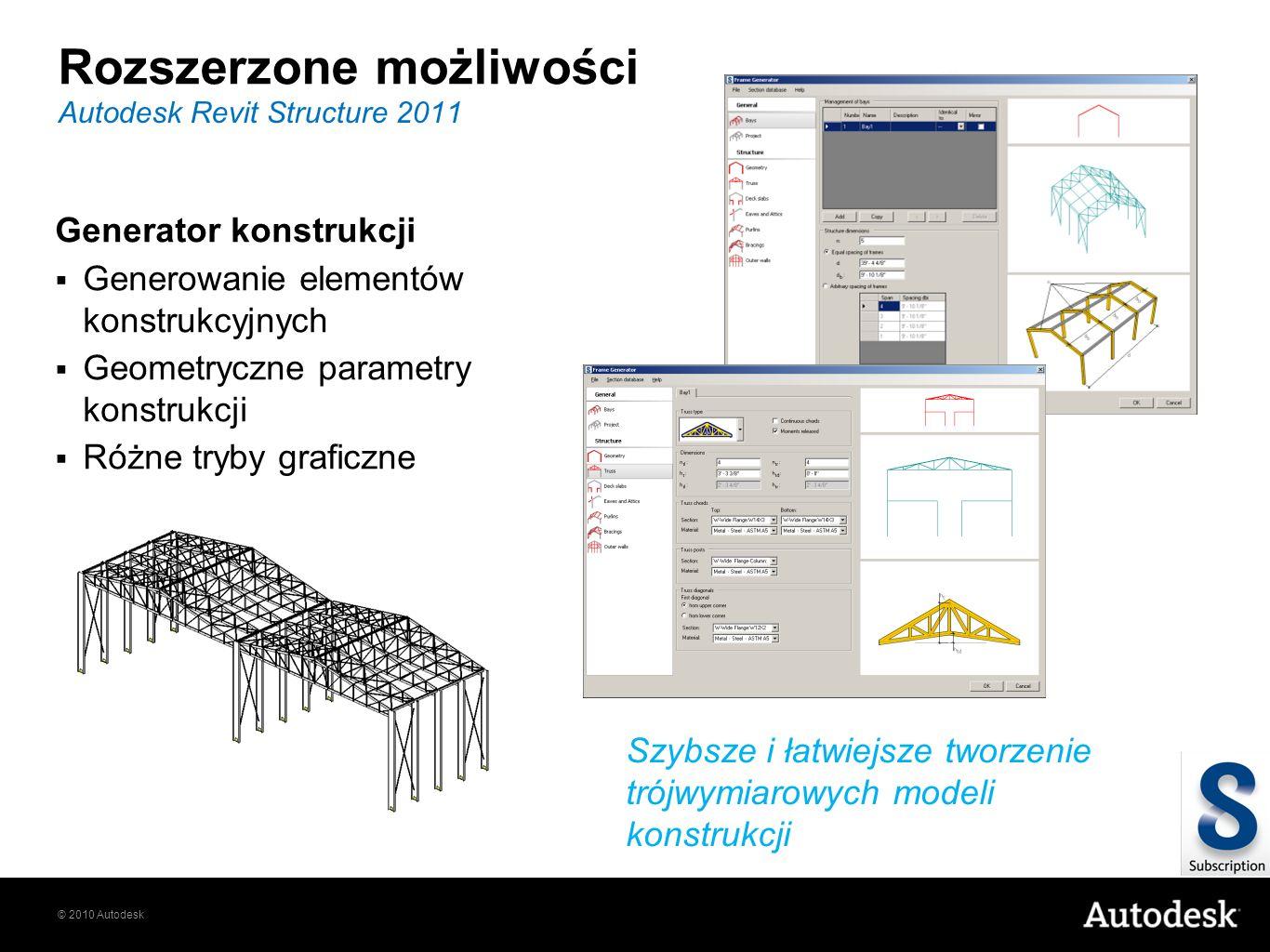 © 2010 Autodesk Rozszerzone możliwości Generator konstrukcji Generowanie elementów konstrukcyjnych Geometryczne parametry konstrukcji Różne tryby graficzne Autodesk Revit Structure 2011 Szybsze i łatwiejsze tworzenie trójwymiarowych modeli konstrukcji