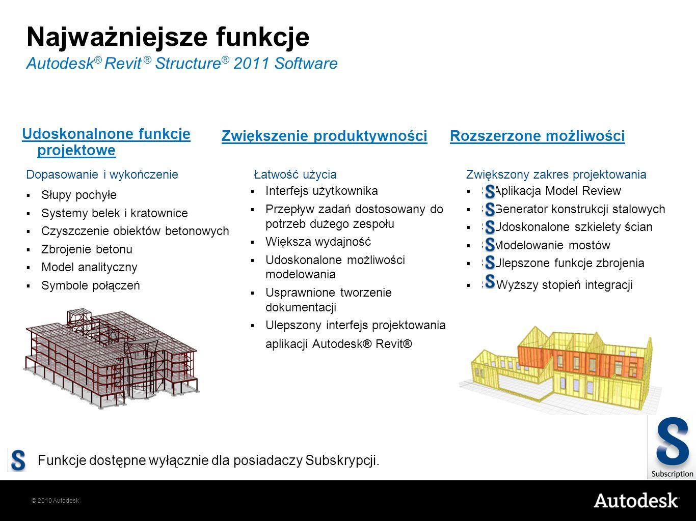 © 2010 Autodesk Najważniejsze funkcje Autodesk ® Revit ® Structure ® 2011 Software Słupy pochyłe Systemy belek i kratownice Czyszczenie obiektów beton