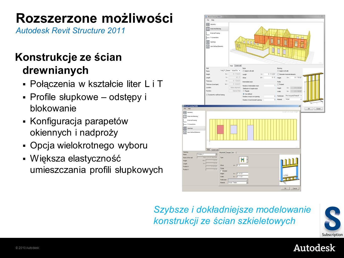 © 2010 Autodesk Rozszerzone możliwości Konstrukcje ze ścian drewnianych Połączenia w kształcie liter L i T Profile słupkowe – odstępy i blokowanie Kon