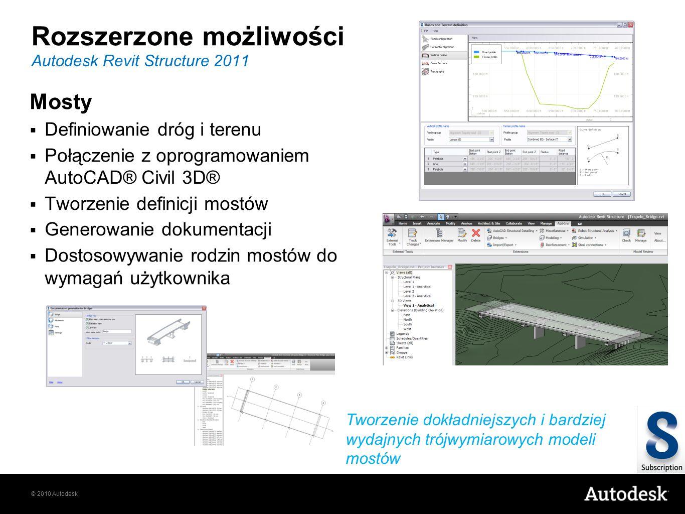 © 2010 Autodesk Rozszerzone możliwości Mosty Definiowanie dróg i terenu Połączenie z oprogramowaniem AutoCAD® Civil 3D® Tworzenie definicji mostów Gen