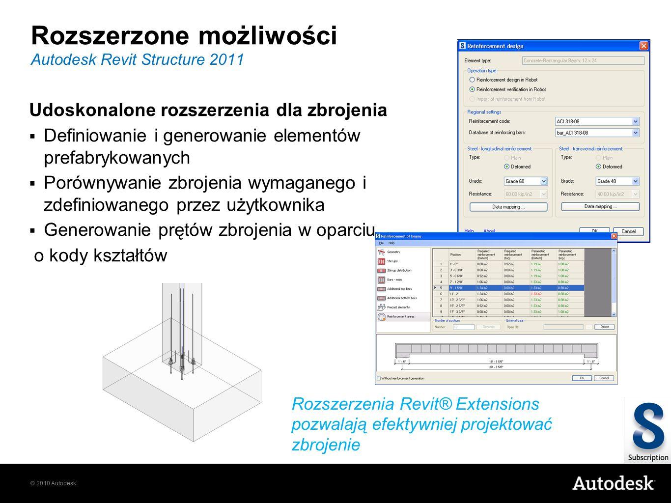 © 2010 Autodesk Rozszerzone możliwości Autodesk Revit Structure 2011 Rozszerzenia Revit® Extensions pozwalają efektywniej projektować zbrojenie Udosko