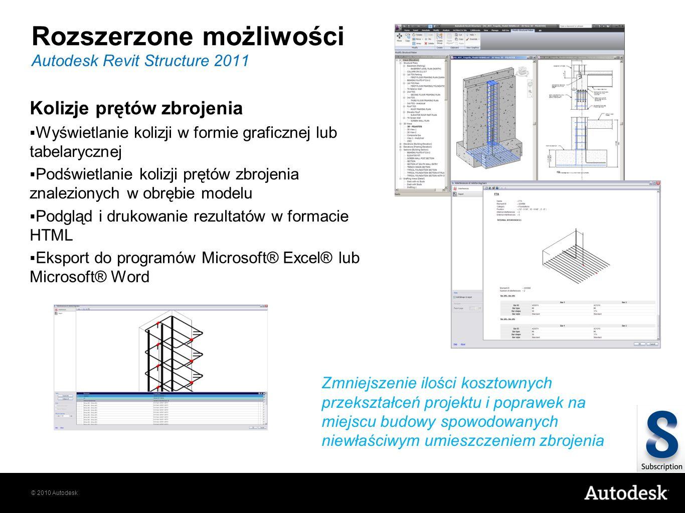 © 2010 Autodesk Rozszerzone możliwości Autodesk Revit Structure 2011 Zmniejszenie ilości kosztownych przekształceń projektu i poprawek na miejscu budo