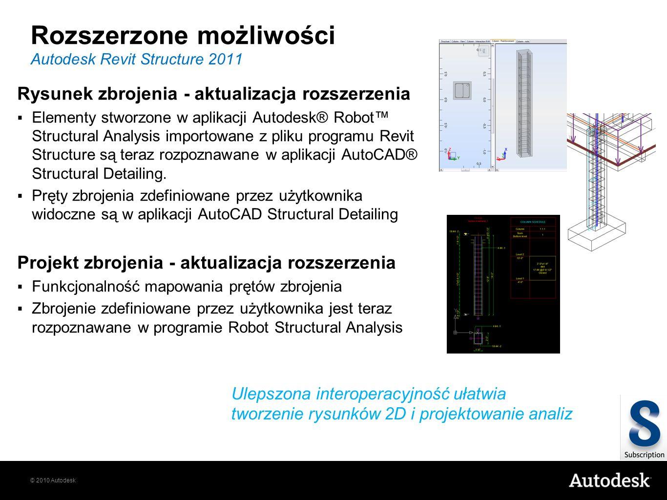 © 2010 Autodesk Rozszerzone możliwości Rysunek zbrojenia - aktualizacja rozszerzenia Elementy stworzone w aplikacji Autodesk® Robot Structural Analysi