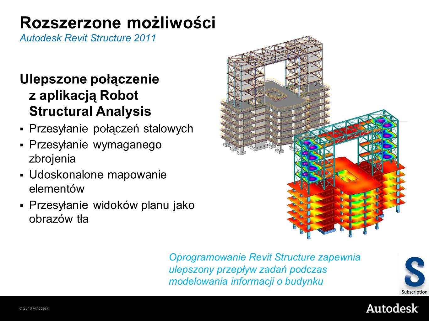 © 2010 Autodesk Ulepszone połączenie z aplikacją Robot Structural Analysis Przesyłanie połączeń stalowych Przesyłanie wymaganego zbrojenia Udoskonalon
