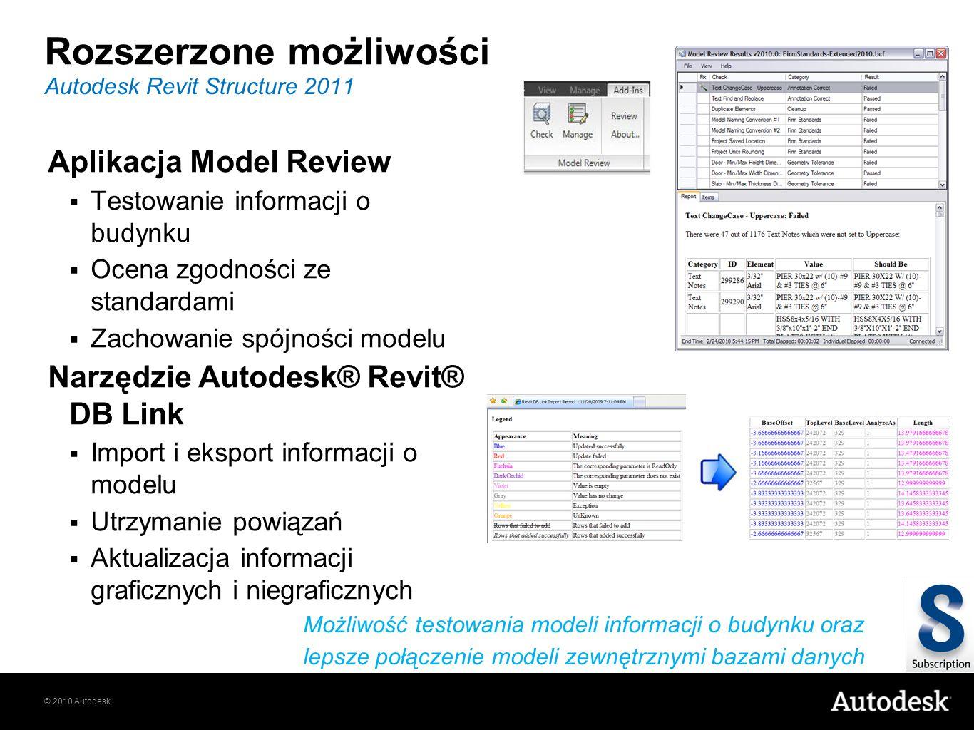 © 2010 Autodesk Rozszerzone możliwości Aplikacja Model Review Testowanie informacji o budynku Ocena zgodności ze standardami Zachowanie spójności mode