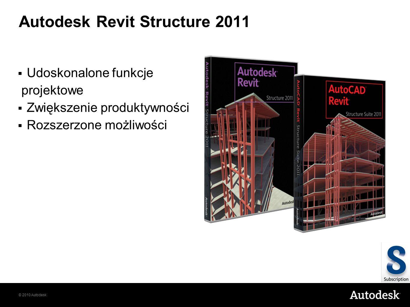 © 2010 Autodesk Autodesk Revit Structure 2011 Udoskonalone funkcje projektowe Zwiększenie produktywności Rozszerzone możliwości