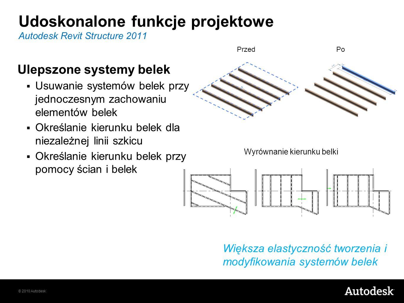 © 2010 Autodesk Ulepszone systemy belek Usuwanie systemów belek przy jednoczesnym zachowaniu elementów belek Określanie kierunku belek dla niezależnej