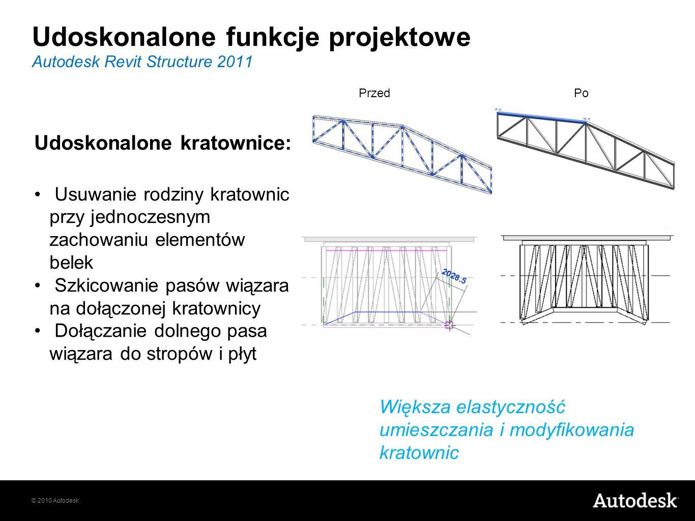 © 2010 Autodesk Autodesk Revit Structure 2011 Udoskonalone kratownice: Usuwanie rodziny kratownic przy jednoczesnym zachowaniu elementów belek Szkicow