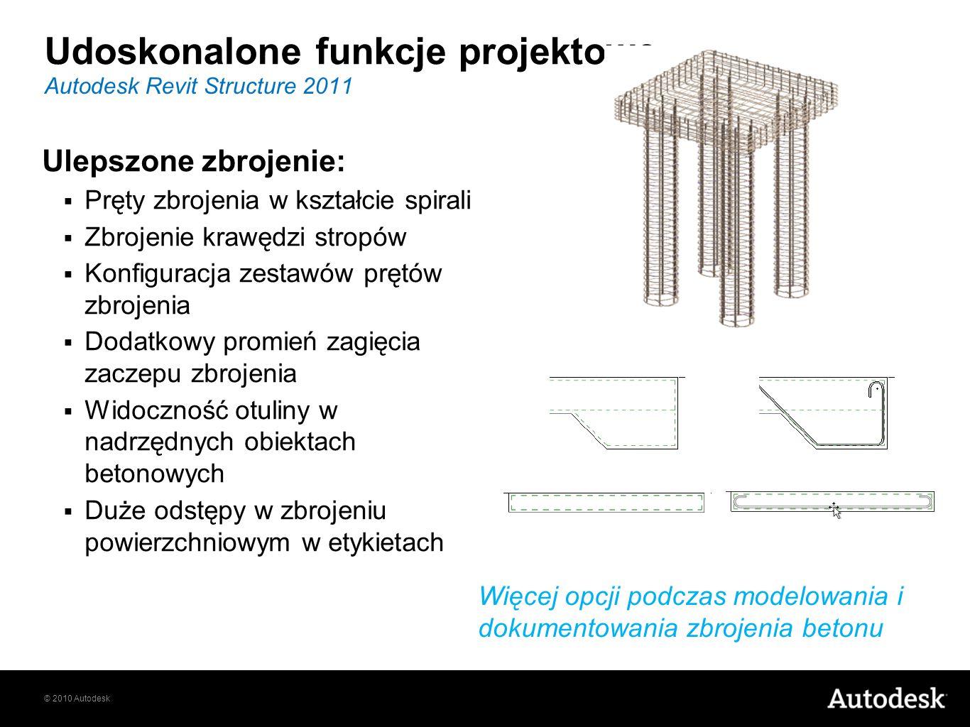 © 2010 Autodesk Ulepszone zbrojenie: Pręty zbrojenia w kształcie spirali Zbrojenie krawędzi stropów Konfiguracja zestawów prętów zbrojenia Dodatkowy p