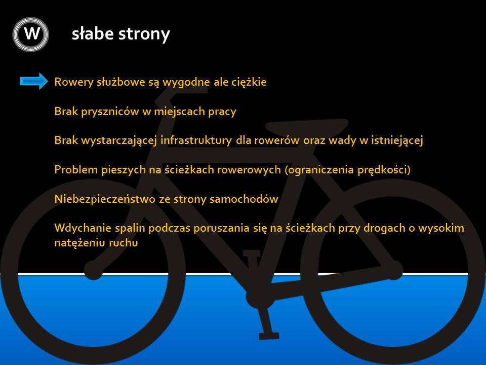 W słabe strony Rowery służbowe są wygodne ale ciężkie Brak pryszniców w miejscach pracy Brak wystarczającej infrastruktury dla rowerów oraz wady w ist