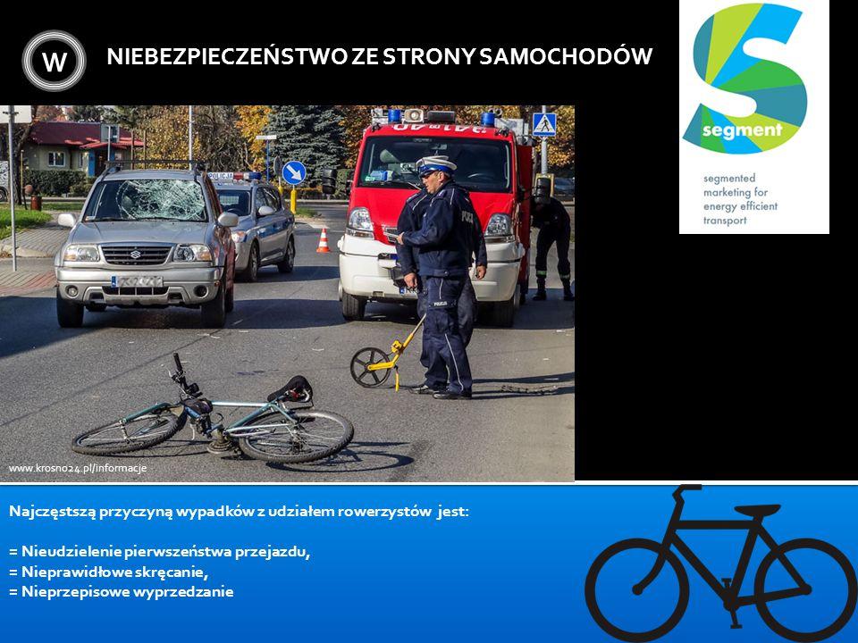 W NIEBEZPIECZEŃSTWO ZE STRONY SAMOCHODÓW www.krosno24.pl/informacje Najczęstszą przyczyną wypadków z udziałem rowerzystów jest: = Nieudzielenie pierws