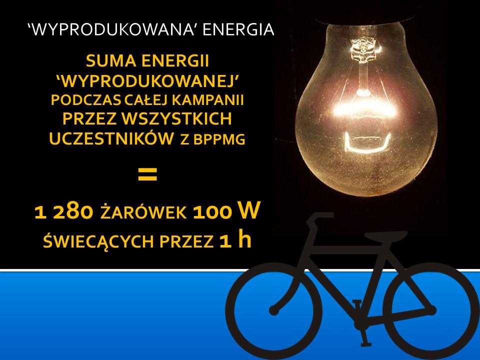WYPRODUKOWANA ENERGIA SUMA ENERGII WYPRODUKOWANEJ PODCZAS CAŁEJ KAMPANII PRZEZ WSZYSTKICH UCZESTNIKÓW Z BPPMG = 1 280 ŻARÓWEK 100 W ŚWIECĄCYCH PRZEZ 1