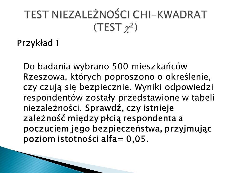 Przykład 1 Do badania wybrano 500 mieszkańców Rzeszowa, których poproszono o określenie, czy czują się bezpiecznie. Wyniki odpowiedzi respondentów zos
