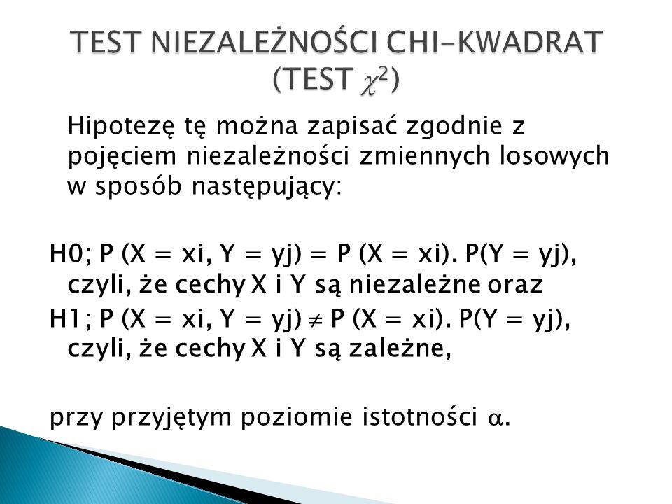 Hipotezę tę można zapisać zgodnie z pojęciem niezależności zmiennych losowych w sposób następujący: H0; P (X = xi, Y = yj) = P (X = xi). P(Y = yj), cz