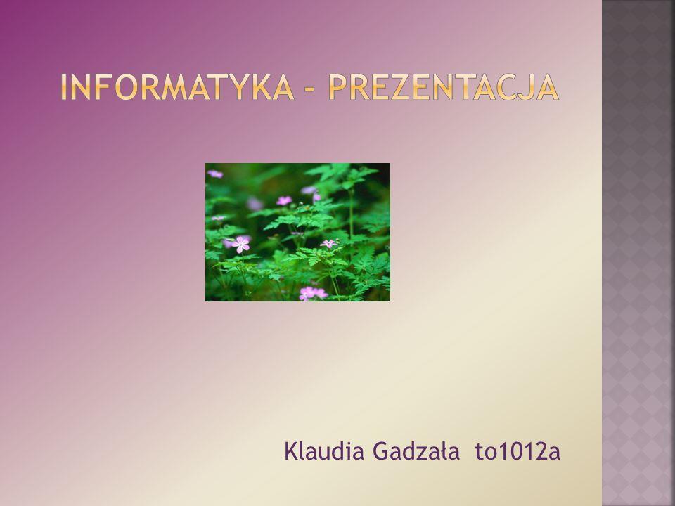 Klaudia Gadzała gr.to1012a Imię i nazwisko: Klaudia Gadzała.