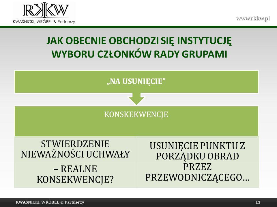 www.rkkw.pl JAK OBECNIE OBCHODZI SIĘ INSTYTUCJĘ WYBORU CZŁONKÓW RADY GRUPAMI KWAŚNICKI, WRÓBEL & Partnerzy11 KONSKEKWENCJE STWIERDZENIE NIEWAŻNOŚCI UCHWAŁY – REALNE KONSEKWENCJE.