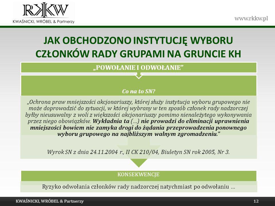 www.rkkw.pl JAK OBCHODZONO INSTYTUCJĘ WYBORU CZŁONKÓW RADY GRUPAMI NA GRUNCIE KH KWAŚNICKI, WRÓBEL & Partnerzy12 KONSEKWENCJE Ryzyko odwołania członków rady nadzorczej natychmiast po odwołaniu … Co na to SN.