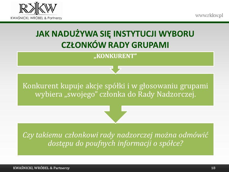www.rkkw.pl JAK NADUŻYWA SIĘ INSTYTUCJI WYBORU CZŁONKÓW RADY GRUPAMI KWAŚNICKI, WRÓBEL & Partnerzy18 Czy takiemu członkowi rady nadzorczej można odmówić dostępu do poufnych informacji o spółce.