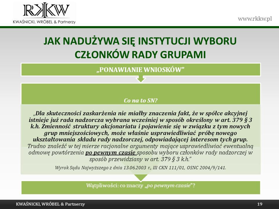 www.rkkw.pl JAK NADUŻYWA SIĘ INSTYTUCJI WYBORU CZŁONKÓW RADY GRUPAMI KWAŚNICKI, WRÓBEL & Partnerzy19 Wątpliwości: co znaczy po pewnym czasie.