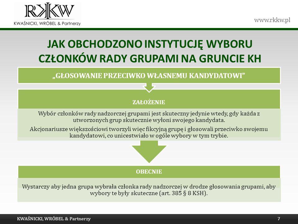 www.rkkw.pl JAK OBCHODZONO INSTYTUCJĘ WYBORU CZŁONKÓW RADY GRUPAMI NA GRUNCIE KH KWAŚNICKI, WRÓBEL & Partnerzy7 OBECNIE Wystarczy aby jedna grupa wybrała członka rady nadzorczej w drodze głosowania grupami, aby wybory te były skuteczne (art.
