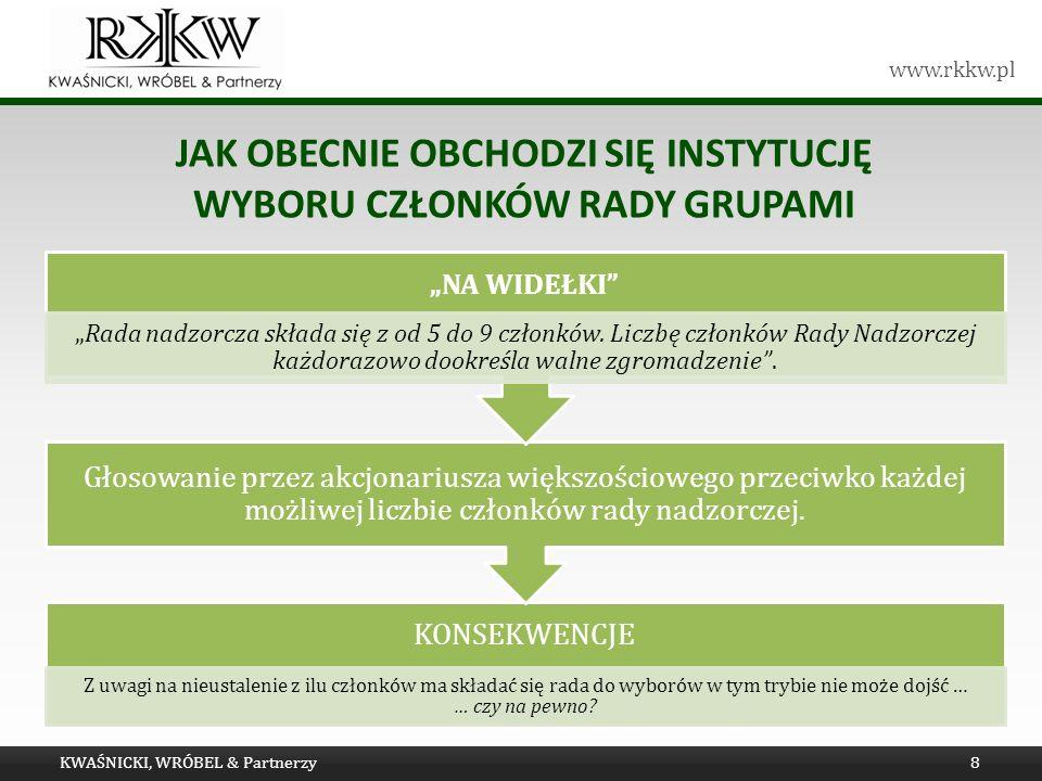 www.rkkw.pl JAK OBECNIE OBCHODZI SIĘ INSTYTUCJĘ WYBORU CZŁONKÓW RADY GRUPAMI KWAŚNICKI, WRÓBEL & Partnerzy8 KONSEKWENCJE Z uwagi na nieustalenie z ilu członków ma składać się rada do wyborów w tym trybie nie może dojść … … czy na pewno.