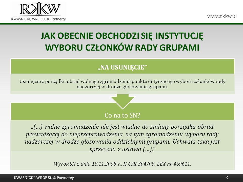 www.rkkw.pl JAK OBECNIE OBCHODZI SIĘ INSTYTUCJĘ WYBORU CZŁONKÓW RADY GRUPAMI KWAŚNICKI, WRÓBEL & Partnerzy9 Co na to SN.