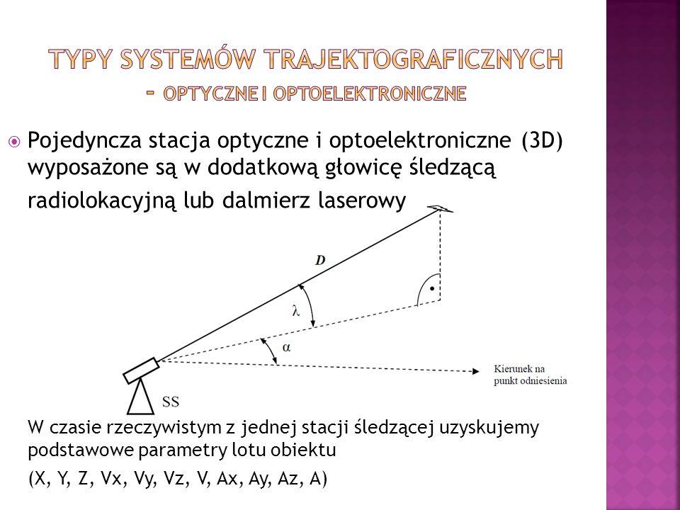 Pojedyncza stacja optyczne i optoelektroniczne (3D) wyposażone są w dodatkową głowicę śledzącą radiolokacyjną lub dalmierz laserowy W czasie rzeczywistym z jednej stacji śledzącej uzyskujemy podstawowe parametry lotu obiektu (X, Y, Z, Vx, Vy, Vz, V, Ax, Ay, Az, A)