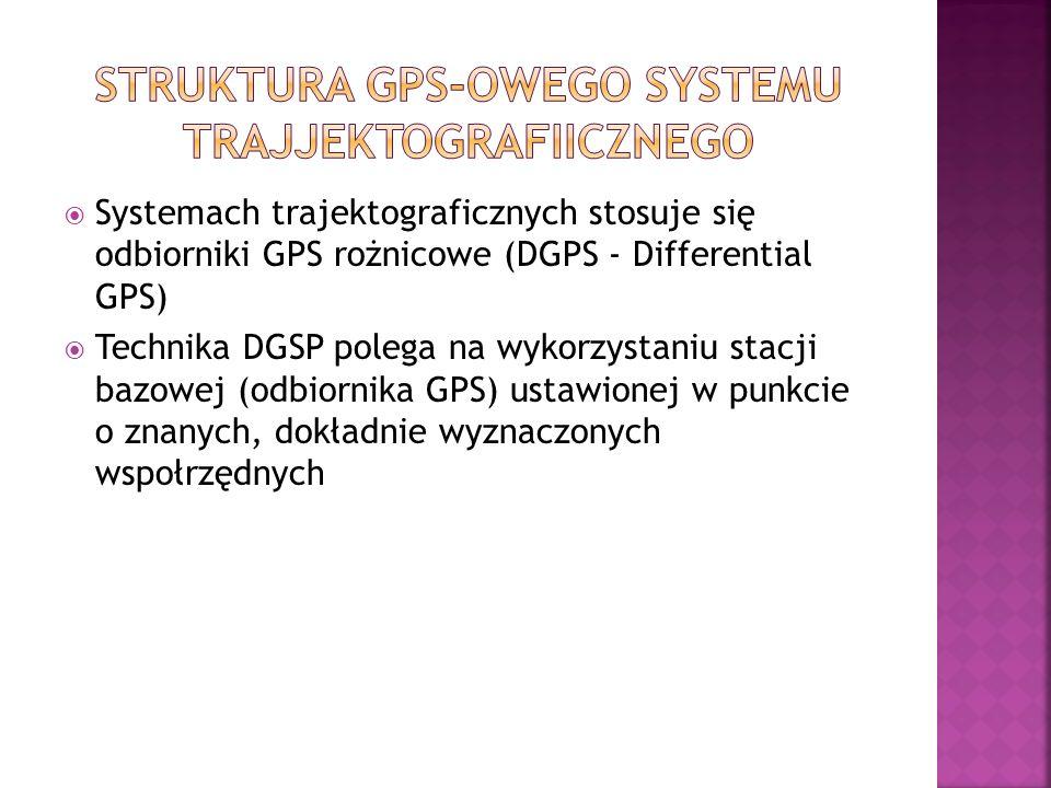 Systemach trajektograficznych stosuje się odbiorniki GPS rożnicowe (DGPS - Differential GPS) Technika DGSP polega na wykorzystaniu stacji bazowej (odbiornika GPS) ustawionej w punkcie o znanych, dokładnie wyznaczonych wspołrzędnych