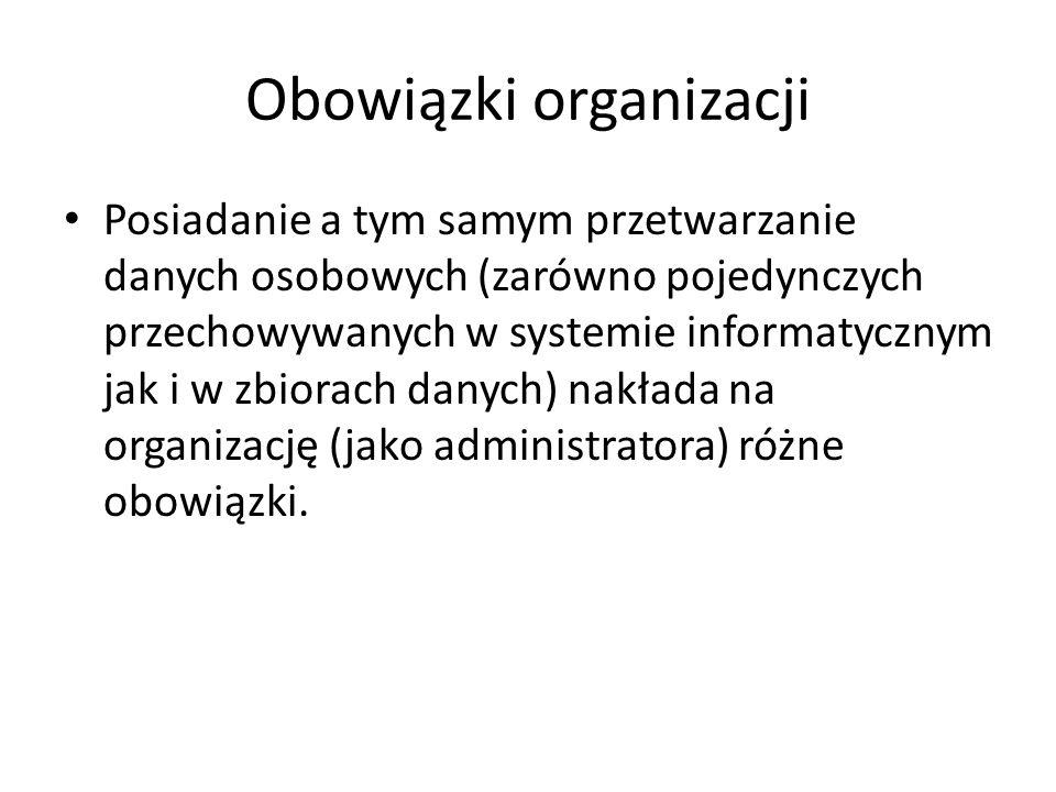 Obowiązki organizacji Posiadanie a tym samym przetwarzanie danych osobowych (zarówno pojedynczych przechowywanych w systemie informatycznym jak i w zb