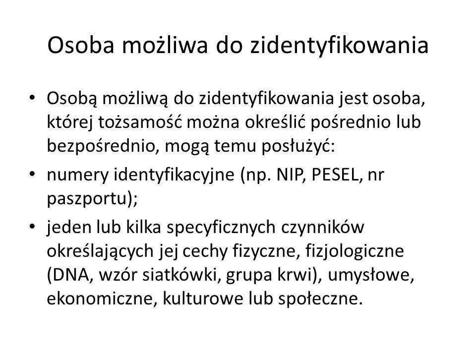 Osoba możliwa do zidentyfikowania Osobą możliwą do zidentyfikowania jest osoba, której tożsamość można określić pośrednio lub bezpośrednio, mogą temu
