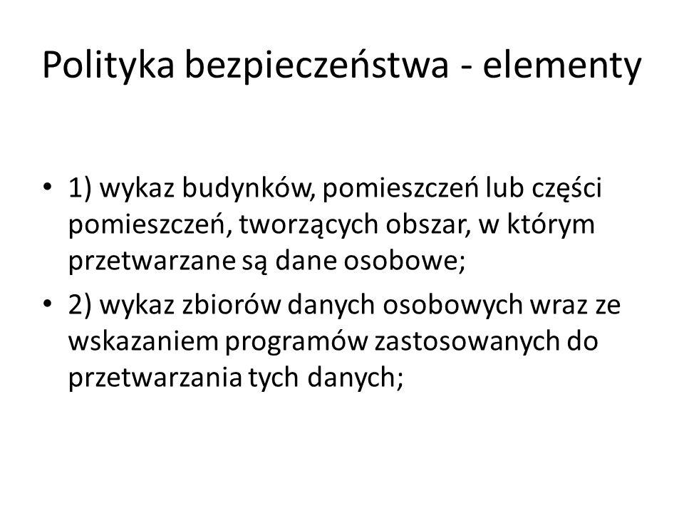 Polityka bezpieczeństwa - elementy 1) wykaz budynków, pomieszczeń lub części pomieszczeń, tworzących obszar, w którym przetwarzane są dane osobowe; 2)