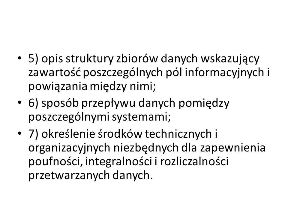 5) opis struktury zbiorów danych wskazujący zawartość poszczególnych pól informacyjnych i powiązania między nimi; 6) sposób przepływu danych pomiędzy