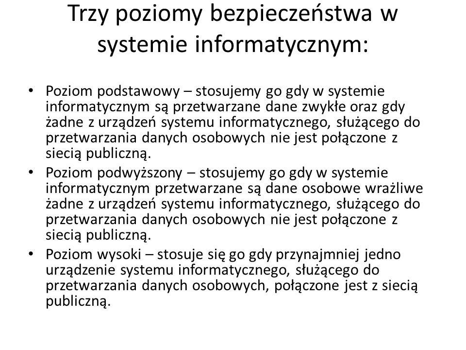 Trzy poziomy bezpieczeństwa w systemie informatycznym: Poziom podstawowy – stosujemy go gdy w systemie informatycznym są przetwarzane dane zwykłe oraz