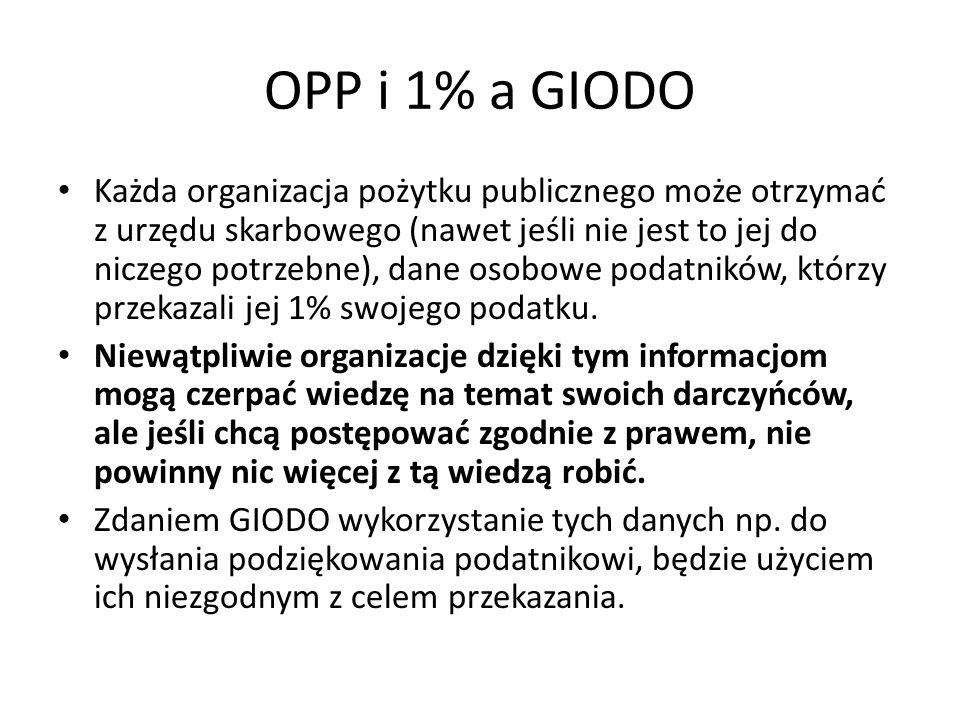 OPP i 1% a GIODO Każda organizacja pożytku publicznego może otrzymać z urzędu skarbowego (nawet jeśli nie jest to jej do niczego potrzebne), dane osob