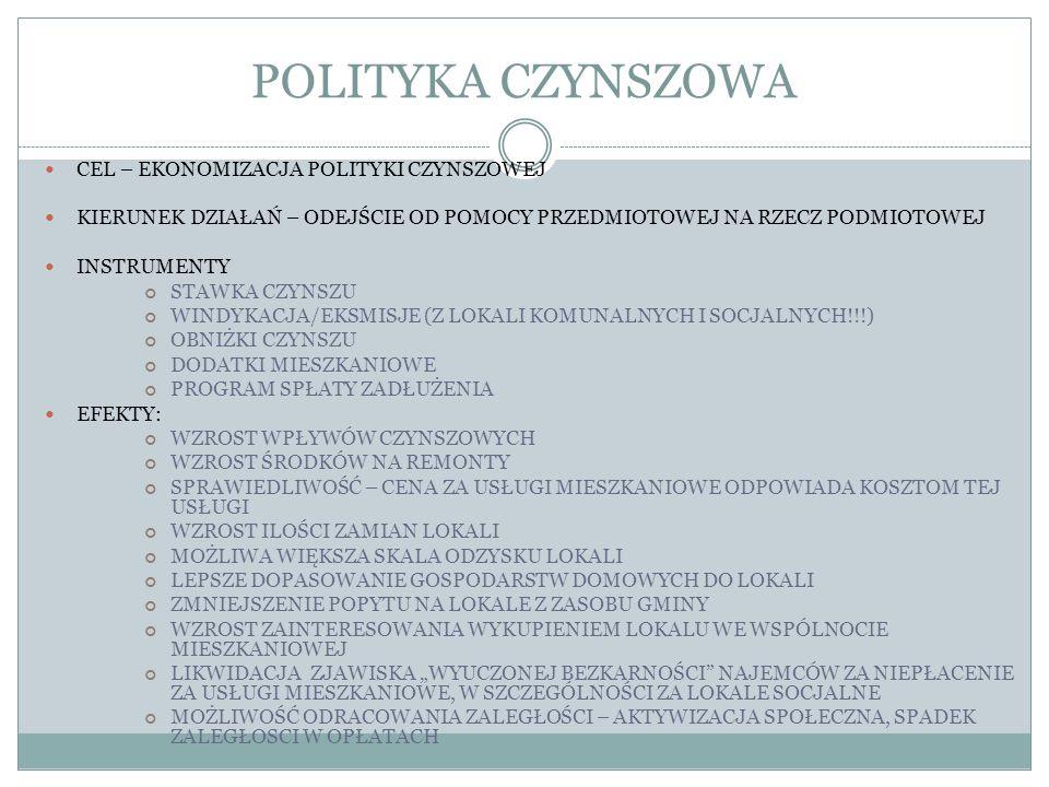POLITYKA CZYNSZOWA CEL – EKONOMIZACJA POLITYKI CZYNSZOWEJ KIERUNEK DZIAŁAŃ – ODEJŚCIE OD POMOCY PRZEDMIOTOWEJ NA RZECZ PODMIOTOWEJ INSTRUMENTY STAWKA