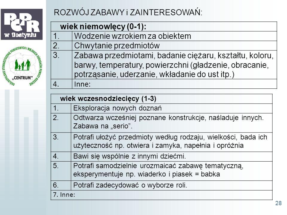 wiek niemowlęcy (0-1): 1.Wodzenie wzrokiem za obiektem 2.Chwytanie przedmiotów 3.Zabawa przedmiotami, badanie ciężaru, kształtu, koloru, barwy, temper