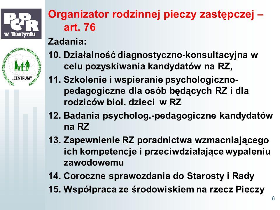 Organizator rodzinnej pieczy zastępczej – art. 76 Zadania: 10. Działalność diagnostyczno-konsultacyjna w celu pozyskiwania kandydatów na RZ, 11. Szkol