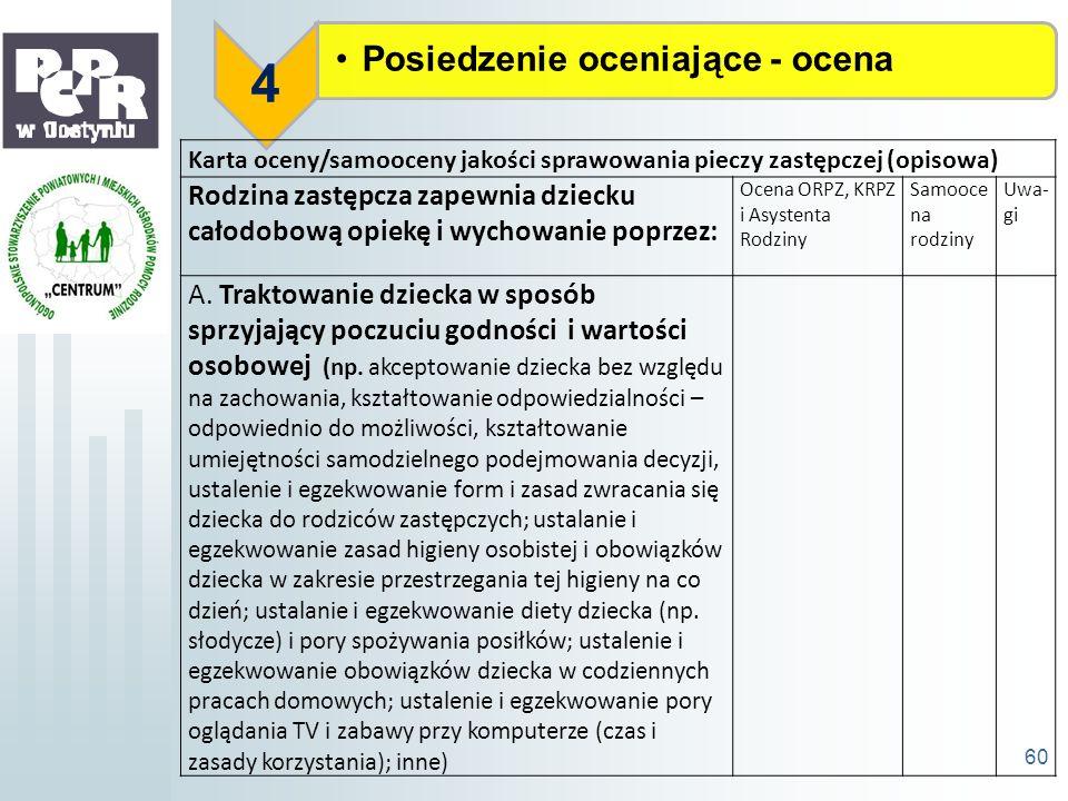 Posiedzenie oceniające - ocena 4 60 Karta oceny/samooceny jakości sprawowania pieczy zastępczej (opisowa) Rodzina zastępcza zapewnia dziecku całodobow