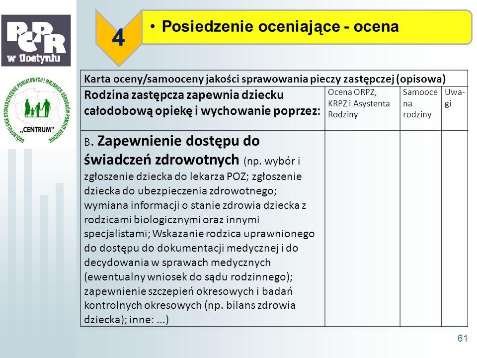 Posiedzenie oceniające - ocena 4 61 Karta oceny/samooceny jakości sprawowania pieczy zastępczej (opisowa) Rodzina zastępcza zapewnia dziecku całodobow