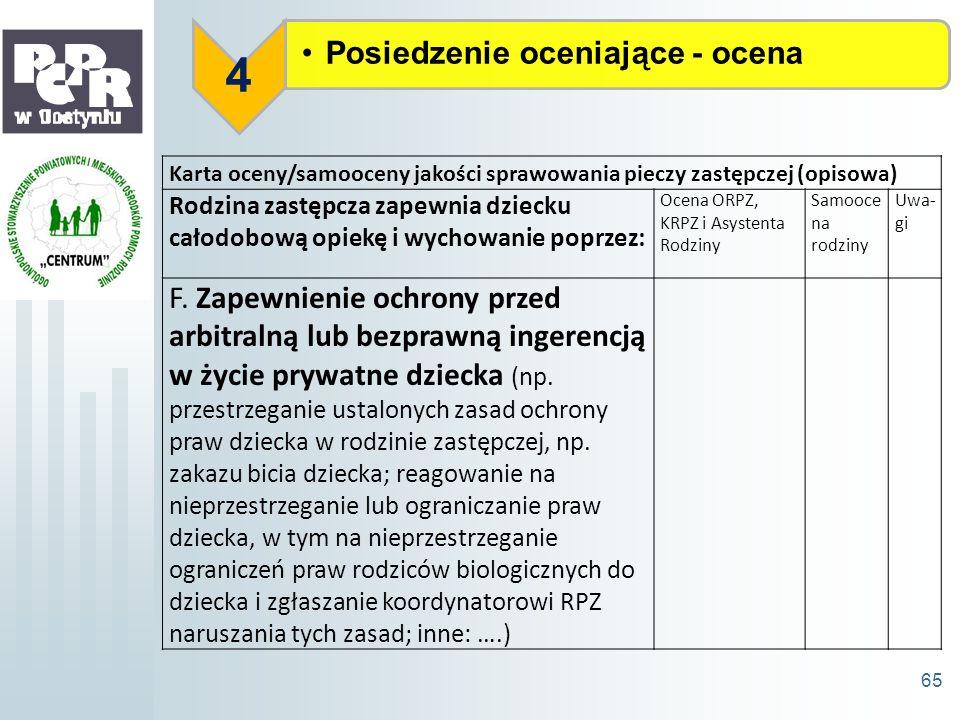 Posiedzenie oceniające - ocena 4 65 Karta oceny/samooceny jakości sprawowania pieczy zastępczej (opisowa) Rodzina zastępcza zapewnia dziecku całodobow