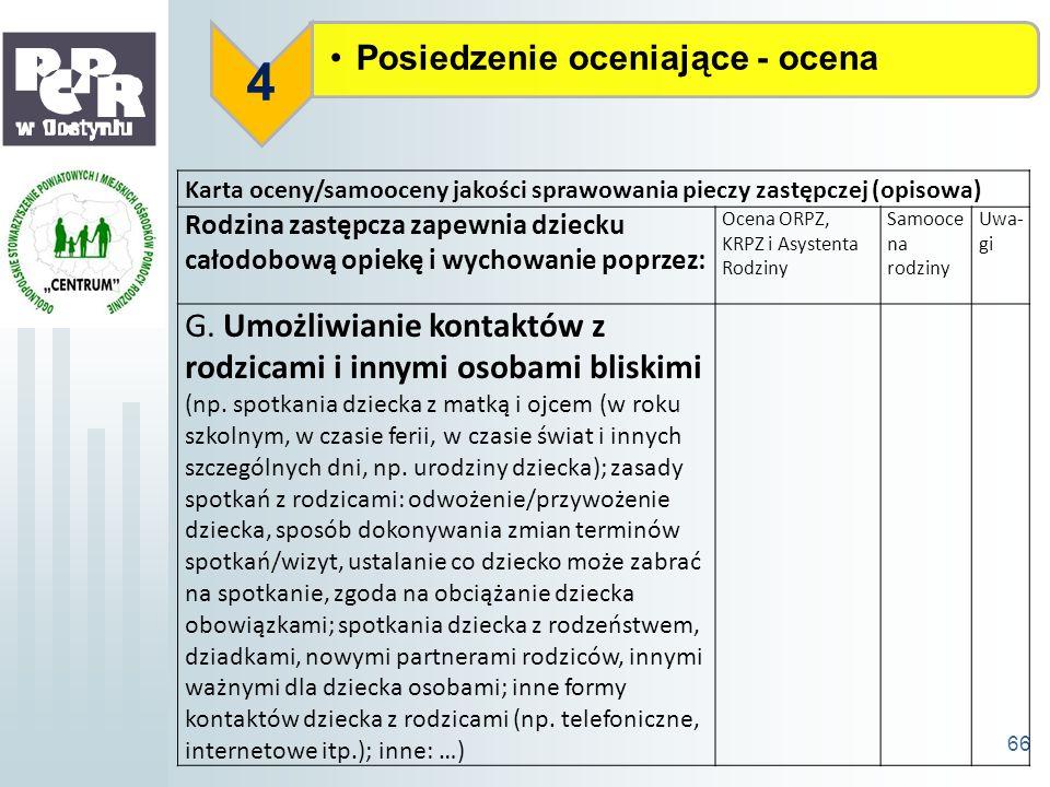 Posiedzenie oceniające - ocena 4 66 Karta oceny/samooceny jakości sprawowania pieczy zastępczej (opisowa) Rodzina zastępcza zapewnia dziecku całodobow