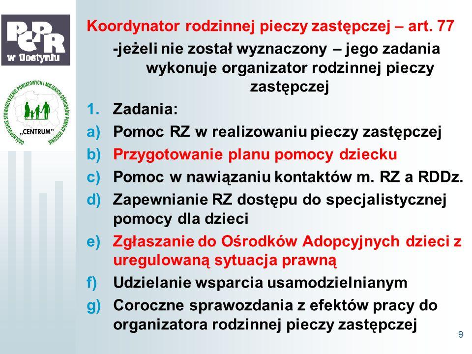 Koordynator rodzinnej pieczy zastępczej – art. 77 -jeżeli nie został wyznaczony – jego zadania wykonuje organizator rodzinnej pieczy zastępczej 1.Zada