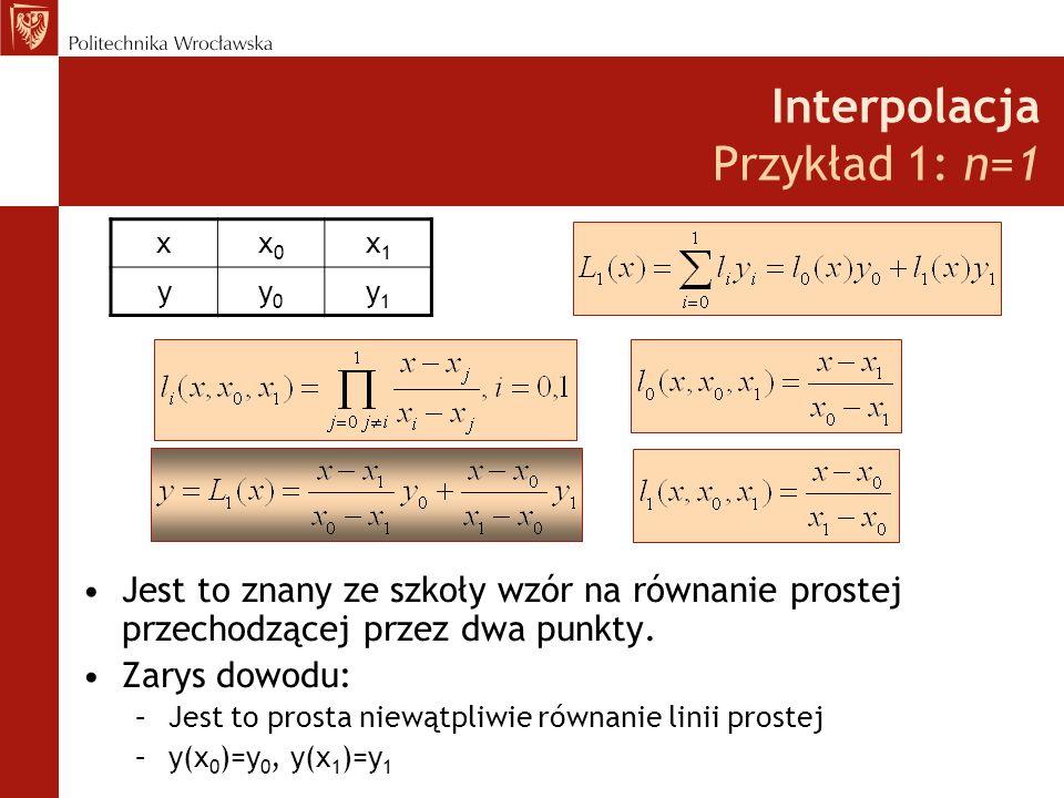 Interpolacja Przykład 1: n=1 Jest to znany ze szkoły wzór na równanie prostej przechodzącej przez dwa punkty.