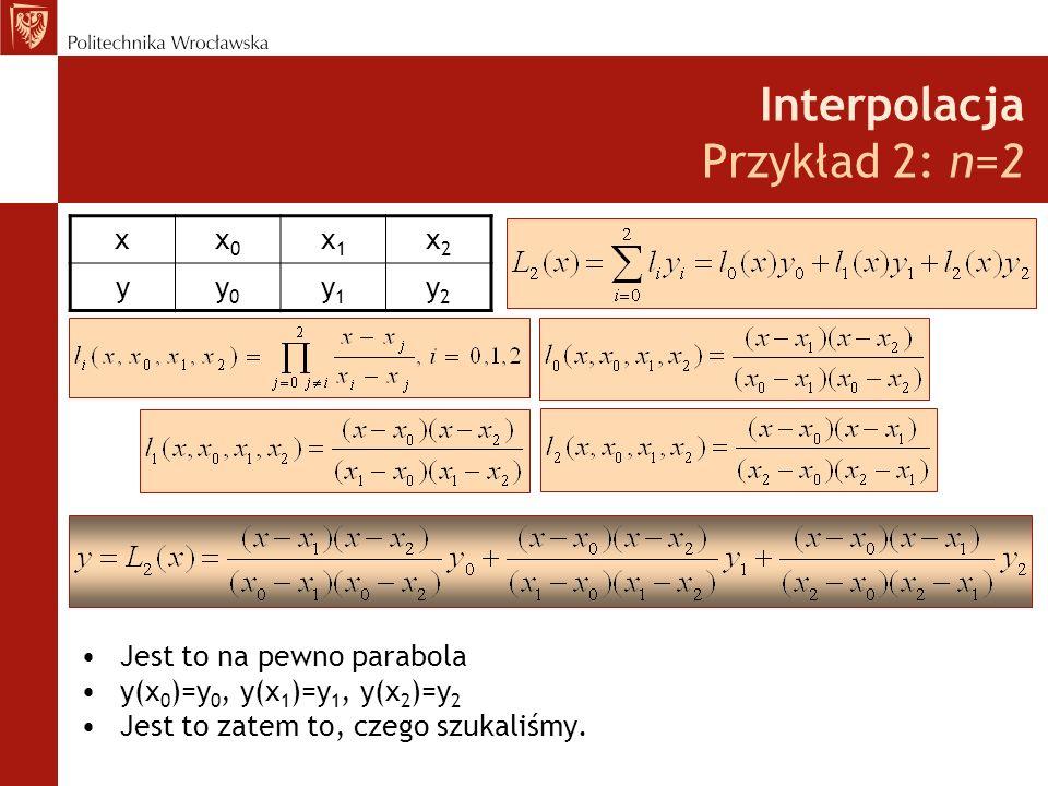 Interpolacja Przykład 2: n=2 Jest to na pewno parabola y(x 0 )=y 0, y(x 1 )=y 1, y(x 2 )=y 2 Jest to zatem to, czego szukaliśmy.