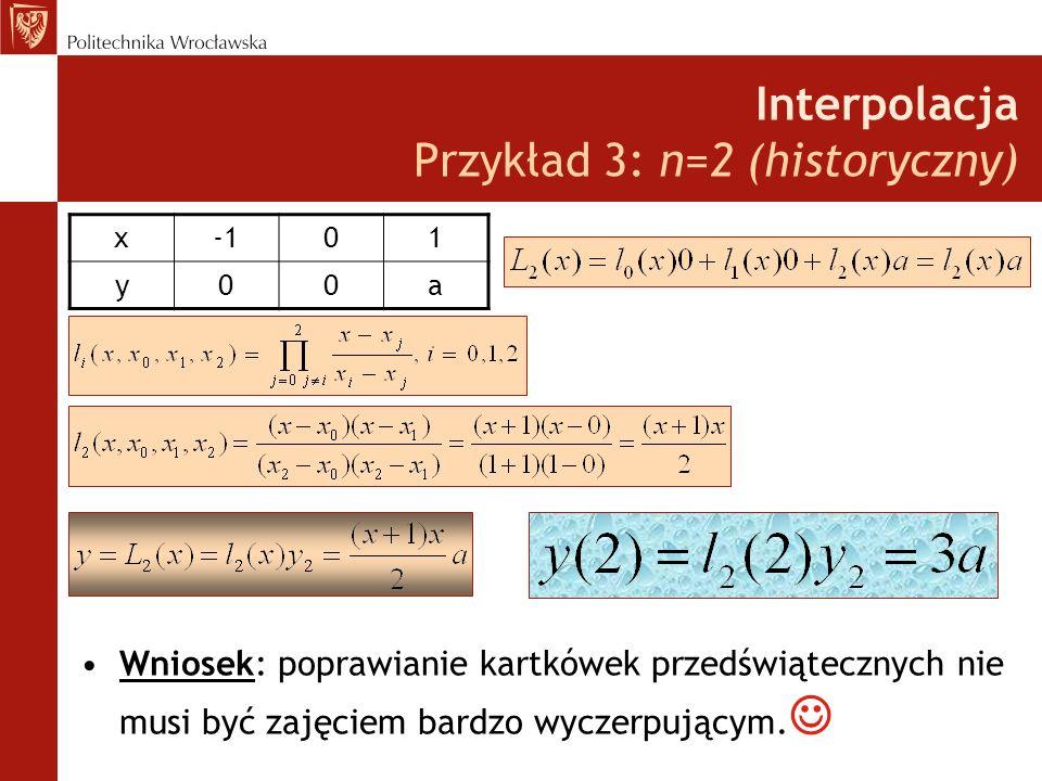 Interpolacja Przykład 3: n=2 (historyczny) Wniosek: poprawianie kartkówek przedświątecznych nie musi być zajęciem bardzo wyczerpującym.