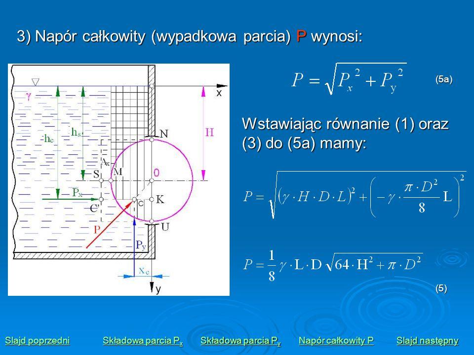 3) Napór całkowity (wypadkowa parcia) P wynosi: Slajd poprzedni Slajd poprzedni Składowa parcia P x Składowa parcia P x Składowa parcia P y Składowa p