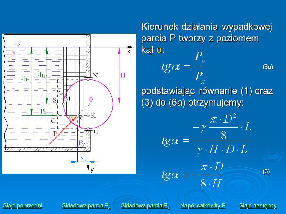 Kierunek działania wypadkowej parcia P tworzy z poziomem kąt α: Slajd poprzedni Slajd poprzedni Składowa parcia P x Składowa parcia P x Składowa parci