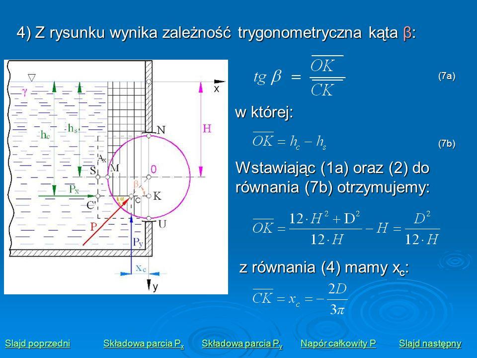 4) Z rysunku wynika zależność trygonometryczna kąta β: Slajd poprzedni Slajd poprzedni Składowa parcia P x Składowa parcia P x Składowa parcia P y Skł