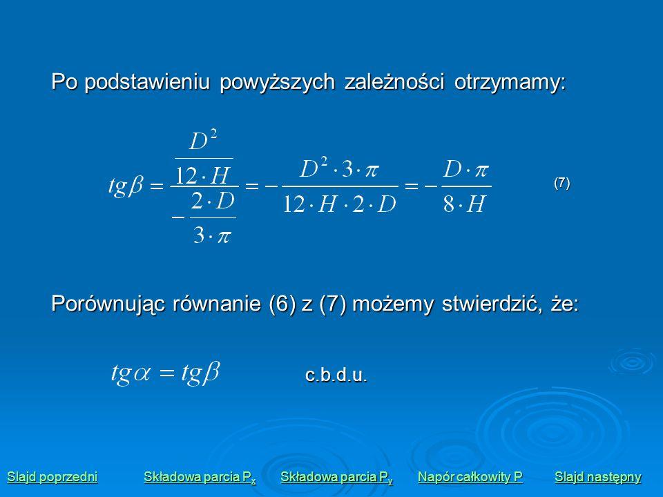 Po podstawieniu powyższych zależności otrzymamy: Porównując równanie (6) z (7) możemy stwierdzić, że: Slajd poprzedni Slajd poprzedni Składowa parcia