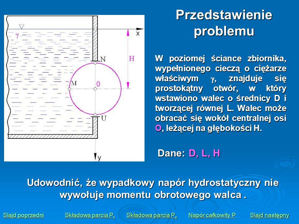 W poziomej ściance zbiornika, wypełnionego cieczą o ciężarze właściwym, znajduje się prostokątny otwór, w który wstawiono walec o średnicy D i tworząc